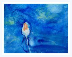 Oiseau rêveur - Peinture,  32x24 cm ©2016 par Maï Laffargue -            bleu, oiseau, poésie, love