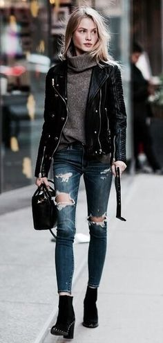 minus the ripped jeans , would do this with jeggings and a teal handbag or a burgundy one for a pop of color