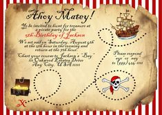 Pirate party invitations template pinteres ahoy matey pirate birthday invitation stopboris Choice Image