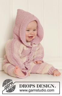 "Knitted DROPS suit in garter st with hood in 2 strands ""Alpaca"". Size 0 – 4 years. ~ DROPS Design"