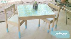 Paint Dipped Children's Table-EASY Ikea Hack!  Ikea Latt.