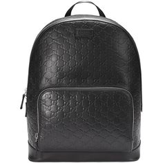 Gucci Signature backpack ($1,818) ❤ liked on Polyvore featuring bags, backpacks, black, padded backpack, leather daypack, gucci, leather bags and genuine leather backpack