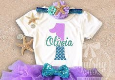 Mermaid Birthday Shirt, Girl 1st Birthday, 2nd Birthday, Personalized No-Shed Glitter Shirt, Short or Long Sleeve, Up to 6T