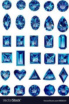 Set of realistic blue amethyst jewels vector image on VectorStock Juwel Tattoo, Gem Drawing, Kunst Tattoos, Jewelry Design Drawing, Jewelry Illustration, Jewellery Sketches, Digital Art Tutorial, Wow Art, Diamond Art