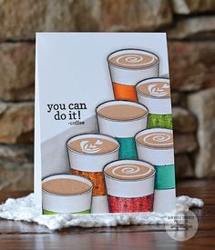 Card by Amy Sheffer. Reverse Confetti stamp sets: Caffeinated Cups and For the Love of Latte. Confetti Cuts: Caffeinated Cups. Encouragement card. Friendship card. Coffee card.