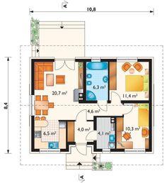 Projekt domu Antek - dom parterowy, z dwoma pokojami, idealny dla 3 osobowej rodziny ceramika - Archeton.pl Bedroom Door Design, Bedroom Doors, My House Plans, Facade House, Floor Plans, How To Plan, Loft, Small Farm Houses, Lofts