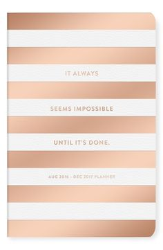 An inspiring quote and metallic stripes cover the front of this darling 17-month planner fo an ultra-stylish look.