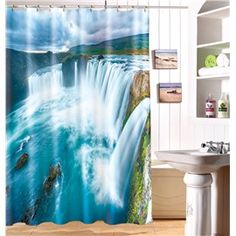 MYRU Spectacular waterfall printing waterproof shower curtain cool shower curtains for bathroom Cool Shower Curtains, Bathroom Shower Curtains, Curtains For Sale, Bathroom Kids, Waterfall, Interior Design, Cool Stuff, Architecture, Beautiful