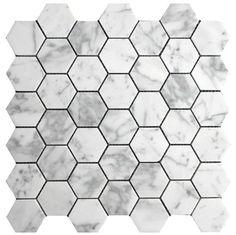 "Carrara (Carrera) Bianco Honed 2"" Hexagon Marble Mosaic Tile $11.75"