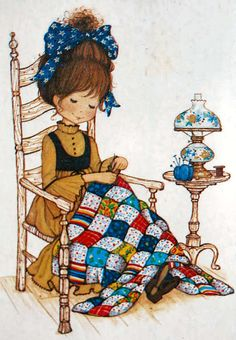 Miss Petticoat Ilustrations ~ Silvita Blanco. Sewing a quilt Sarah Key, Holly Hobbie, Images Vintage, Vintage Cards, Vintage Postcards, Cute Images, Cute Pictures, Sweet Pic, Sewing Art
