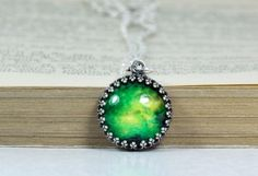 Crown Pendant Antique Silver Green Galaxy Chain by PauwowHandmade, $19.90
