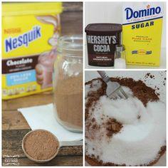Easy Copycat Nesquik Powder Recipe and link for Caramel White Hot Chocolate