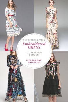 """Embroidered dress the best part of the day. - Special 10%off Coupon Code """"pins""""  - For hot Women #Women Dress #Summer Dress #Runway fashion #party Dress #Product"""