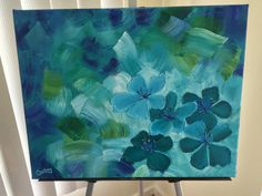 Original Blue-Green Flower Oil Painting by CourtneyPiersonArt