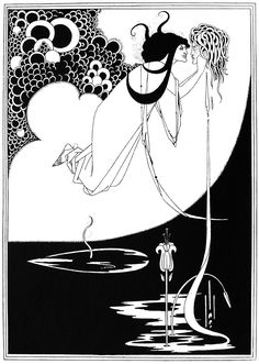 What I was holding in my hands was no print. It was an incredibly rare illustration: The Climax, an original drawing by British Art Nouveau illustrator Aubrey Beardsley. Art And Illustration, Ink Illustrations, Oscar Wilde, Jugendstil Design, Japanese Woodcut, Aubrey Beardsley, Ouvrages D'art, Alphonse Mucha, Ink Pen Drawings