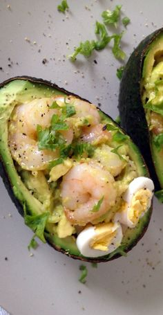 Garlic Shrimp Stuffed Avocado by thesaffrongirl via greatist http://thesaffrongirl.com/stuffed-avocado-with-garlic-shrimp/ #Shrimp #Avocado #Garlic #Healthy