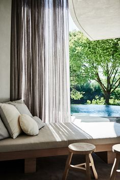 Street Trees, Tree Canopy, Banquette Seating, House Tours, Backdrops, New Homes, Lounge, House Design, Curtains