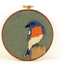 Punch needle bluebird hoop #embroidery #bird