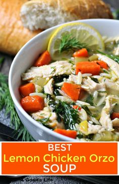 One Pot Lemon Chicken Orzo Soup ~ tender bites of chicken, orzo, carrots, fresh spinach and dill in a lightly tangy lemony broth. Best Chicken Recipes, Healthy Soup Recipes, Chili Recipes, Greek Lemon Chicken, Lemon Chicken Orzo Soup, Lemon Orzo, Easy One Pot Meals, Homemade Soup, Soup And Sandwich