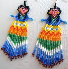 Pendientes mexicana Huichol cuentas muñeca por Aramara en Etsy