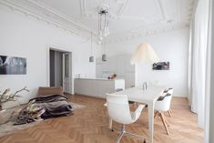 Classic Viennese Apartment Given a Modern Renovation - Design Milk Minimal Apartment, Architecture Design, Herringbone Tile, Minimalist Chic, Vacation Home Rentals, Dream Decor, Modern Luxury, Interior Modern, Living Spaces