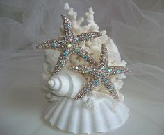 Beach Theme Wedding Cake Topper, Jeweled Starfish Seashell Coral Cake Topper, Starfish Seashell Decor, Rhinestone Starfish Cake Topper by SeashellBeachDesigns on Etsy
