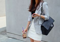 gray blazer + chanel bag