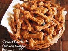 Oatmeal Peanut Dog Biscuits very easy to make! Only four ingredients!