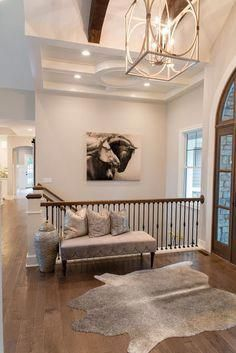 15 Top Raised Ranch Interior Design Ideas to Steal Even if you are living in the busiest town on Earth, you can still add a touch of country to your modern home. You can do so by adopting a ranch-style interior. Mostly, ranch interior, raised ranch in Open Basement Stairs, Open Stairs, Entryway Stairs, Open Entryway, Front Stairs, Modern Basement, Rustic Entryway, Entry Bench, Floating Stairs