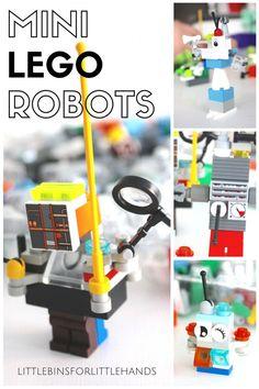Building mini LEGO robots for a fine motor STEAM activity. Kindergarten through grade school STEM activity.