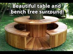 Beautiful table and bench tree surround! Bench Around Trees, Tree Bench, Tree Table, Wrap Around Deck, Backyard Patio Designs, Backyard Projects, Garden Projects, Backyard Landscaping, Patio Ideas