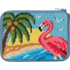 Needlepoint Stitch & Zip Coin Purse - Flamingo