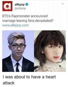 Allkpop Kpop BTS's Rapmonster Announced Marriage Leaving Fans Devastated? Wwwallkpopcom I Love This I'm Shipping NamJin! Bts Memes, Funny Memes, Hilarious, Black Astronauts, I Need U, Kim Namjoon, Hoseok, Seokjin, Girls Socks