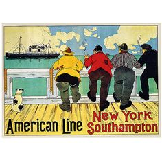 "Trademark Art ""American Line New York to Southhampton"" Canvas Art by Henri Cassiers, 18x24"