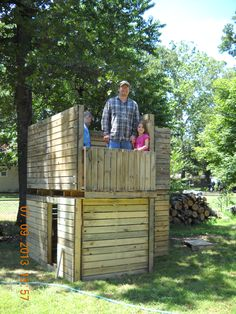 My son built this playhouse fort from treated wood pallets. It took him and the boys only about 3 hours to build. They may add a roof later as he is able to get more wood pallets.