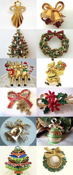 Flurry of Christmas Brooches by WhimsicalEverAfter on Etsy--Pinned with TreasuryPin.com