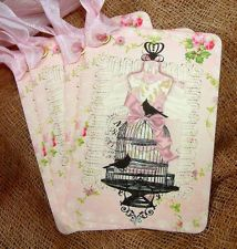 Hang Tags ★ PINK DRESS FORM BIRD CAGE #188 ★ Gift Tags