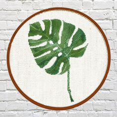 cross stitch pattern Palm Leaf Tropical Green Palm Tree Palm