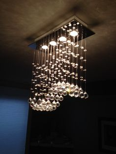 chandelier - fun light - makes me think of bubbles - maybe above a tub Dining Room Lighting, Home Lighting, Lighting Design, Dinning Room Chandelier, Bathroom Chandelier, Chandeliers, Modern Chandelier, Chandelier Lighting, Bubble Chandelier