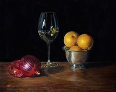 "Beautifully rendered details in this still life by Gayle Madeira. The perfection of the glass depiction or the onions speak to a realistic technique ""Onion, Wine and Asian Pears"" 16x20 by Gayle Madeira from New York. Part of the NOAPS Online International Exhibit. Enter the Spring Exhibit at http://noaps.org/html/on-line_international.html"