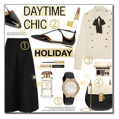 """Holiday Daytime Chic"" by helenevlacho ❤ liked on Polyvore featuring Valentino, Aquazzura, Chloé, Tom Ford, AERIN and Clarins"