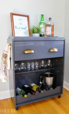 IKEA Rast dresser hacked and transformed into a bar cart! Affordable and stylish with Pittsburgh Paints & Stains Trim Door & Furniture paint.