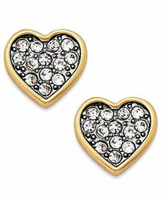 Juicy Couture Earrings Gold Tone And Crystal Pave Heart Stud