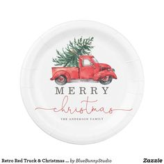 Shop Retro Red Truck & Christmas Pine Tree Paper Plate created by BlueBunnyStudio. Personalize it with photos & text or purchase as is! Outdoor Christmas Tree Decorations, Pine Cone Decorations, Christmas Decor, Christmas Cards, Holiday Decor, Traditional Christmas Tree, Mini Christmas Tree, Christmas Paper Plates, Globe Ornament