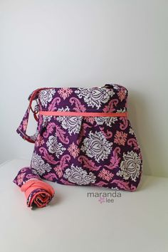 READY to SHIP Stella Damask Diaper Bag Set with by marandalee  nappy bag baby gear changing mat pad purple damask and coral