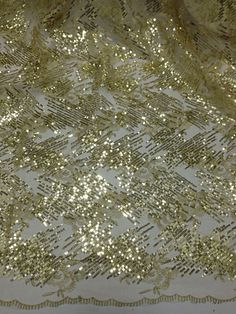 """GOLD MESH W/METALLIC GOLD EMBROIDERY GOLD SEQUINS LACE FABRIC  50"""" WIDE 1 YD"""