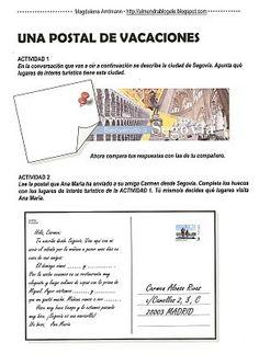almendra. mi blog de ELE: UNA POSTAL DE VACACIONES: expresión escrita