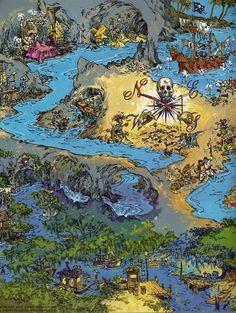 Pirates of the Caribbean, Disneyland Buried Treasure, Pirate Treasure, Treasure Maps, Treasure Island, Disney Map, Disneyland Map, Disney Parks, Disney Nerd, Disney Posters