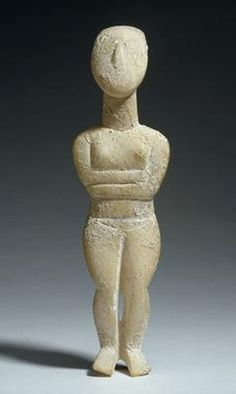 Female figure with folded arms  (340)    Female idol with folded arms. Eastern Mediterranean, Greece, the Cyclades. Early Cycladic II, Spedos variety (c. 2700-2400 BC). Marble. h 21.6 cm. Acquired 1969. Robert and Lisa Sainsbury Collection. UEA 340. www.scva.ac.uk