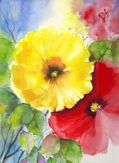 Original Water Color Painting Floral Abstract by veekayart2010,